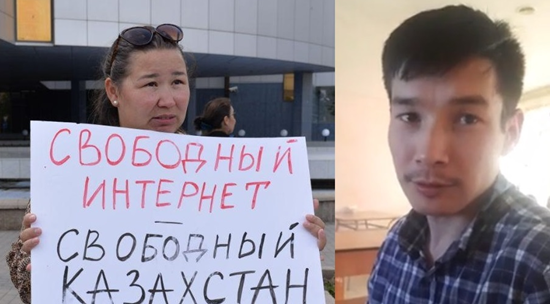 Затримані активісти Анна Шукеєва та Жанібек Жунусов. Фото з Facebook-сторінок.